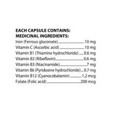 Flora Health Iron+ with B-Vitamin Complex 60 Vegan Capsules |