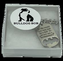 Bulldog Bob Superhero Dad Keychain with Gift Box