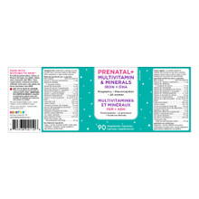 KidStar Nutrients Prenatal+ Multivitamin & Minerals Iron +  DHA 90 Vegetable Capsules - Nutritional Facts |  855938001106