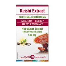 New Roots Herbal Reishi Energy and Stress - Hot Water Extract 500mg 120 Vegetable Capsules   628747122988