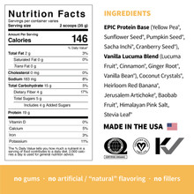 Sprout Living Epic Protein Organic Plant Protein + Superfoods 910g Tub - Vanilla Lucuma Nutrition Facts | 852457007107