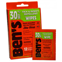 Ben's 30 Tick & Insect Repellent Wipes 12 Individually Wrapped Wipes | 044224070852