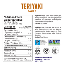 Fody Sauce & Marinade 236mL - Teriyaki Nutrition Facts | 628055758983