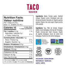 Fody Gut-Friendly Taco Sauce 241g - Nutrition Facts | 628055758952