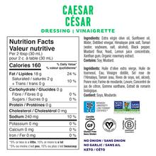 Fody Gut-Friendly Dressing 236mL - Caesar Nutrition Facts | 628055758907