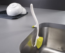 Joseph Joseph Edge Dish Brush - White/Green - Hanging | 5028420850253