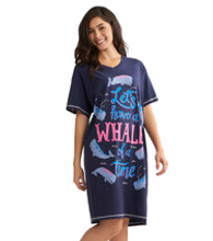 Little Blue House by Hatley Women's Sleepshirt One Size - Whale Of a Day - Model | 671374409913