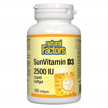 Natural Factors  SunVitamin D3 2500IU - 180 Liquid Softgels | 627765010725