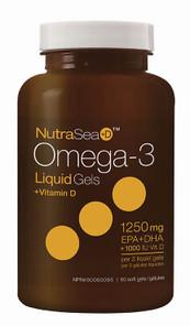 NutraSea+D Omega-3 Liquid Gels + Vitamin D (EPA + DHA 1250mg + 1000IU Vit D) 60 soft gels | 880860005090