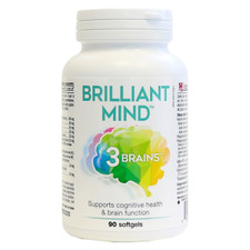 3 Brains Brilliant Mind 90 soft gels   SKU : BNS-1007-001   628235330503