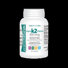 Prairie Naturals Vitamin K2 100mcg - Naturally Fermented Menaquinone 7 (MK7) 60 V-Capsules   067953004325