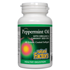 Natural Factors Peppermint Oil with Oregano & Caraway Seed Oils Enteric Coated Softgels | 068958035161