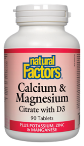 Natural Factors Calcium and Magnesium Citrate with D3 Plus Potassium, Zinc and Manganese 90 Tablets   068958016078