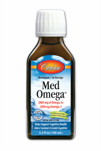 Carlson Norwegian Fish Oil Concentrate Med Omega (2700mg Omega-3s) Professional Strength - Lemon-Lime Flavour 100mL | 088395017018