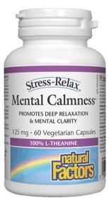 Natural Factors Stress-Relax Mental Calmness 100% L-Theanine 125mg 60 Vegetarian Capsules | 068958048307