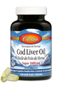 Carlson Norwegian Cod Liver Oil Gems - Super 1000mg - 100 softgels   088395013010