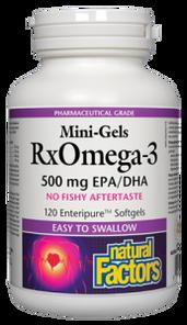 Natural Factors RxOmega-3 Mini-Gels 500mg 120Softgels | 068958354958