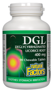 Natural Factors DGL Deglycyrrhizinated Licorice Root 400mg 90 chewable Tablets   068958045085