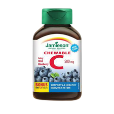 Jamieson Chewable C 500mg - Wild Blueberry 100+20 Tablets | 064642026170