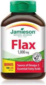 Jamieson Flax 1,000mg Bonus Size 180+20 Softgels | 064642062345