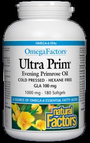 Natural Factors OmegaFactors Ultra Prim Evening Primrose Oil 1000mg 180 Softgels   068958023472