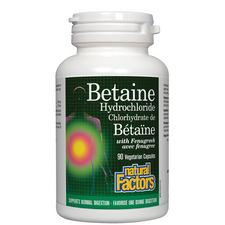 Natural Factors Betaine Hydrochloride with Fenugreek Vegetarian Capsules   068958017204