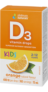 Platinum Naturals Vitamin D3 Drops 400IU for Kids Orange Natural Flavour 15mL| 773726031749