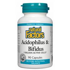 Natural Factors Acidophilus and Bifidus 5 Billion Active Cells Capsules | 068958018003
