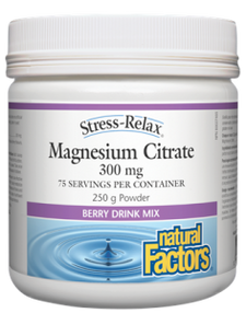 Natural Factors Stress-Relax Magnesium Citrate 300mg Berry Flavour 250g  | 068958035406