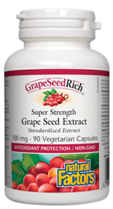 Natural Factors GrapeSeedRich Super Strength Grape Seed Extract 100mgVegetarian Capsules   068958045368