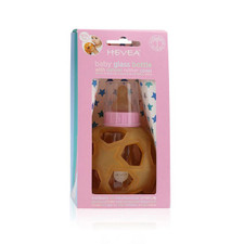 Hevea Baby Glass Bottle with Natural Rubber Cover - Pink (2 Lids)   5710087080318