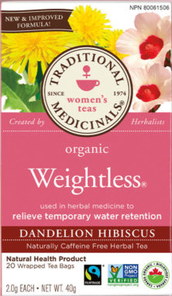 Traditional Medicinals Organic Weightless Dandelion Hibiscus Tea 20 Tea Bags | 032917101662