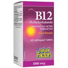 Natural Factors B12 Methylcobalamin 5000mcg 60 Sublingual Tablets | 068958012476