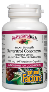 Natural Factors ResveratrolRich Super Strength Resveratrol Concentrate 500mgVegetarian Capsules | 068958045276