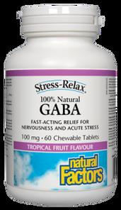 Natural Factors 100% Natural GABA 100mg Tropical Fruit Flavour Stress-Relax chews   068958028354