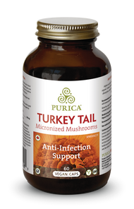 Purica Turkey Tail Micronized Mushrooms - Anti-Infection Support Vegan Caps 60 Capsules | 815555000289