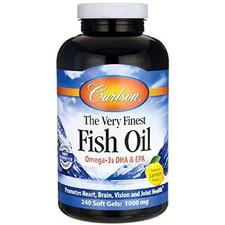 Carlson Norwegian Very Finest Fish Oil 1000mg Soft Gels 240 Soft Gels - Lemon | 088395016325