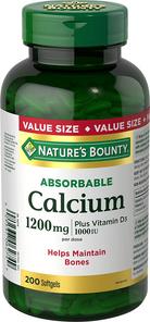 Nature's Bounty Absorbable Calcium 1200mg plus Vitamin D3 1000IU 200 Softgels   029537062749