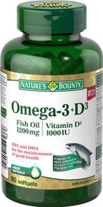 Nature's Bounty Omega-3 + D3 (Fish Oil 1200mg + Vitamin D3 1000IU) 90 Softgels | 029537194051