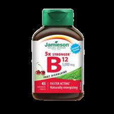 Jamieson 5x Stronger Vitamin B12 5000mcg 45 sublingual Tablets   064642079299