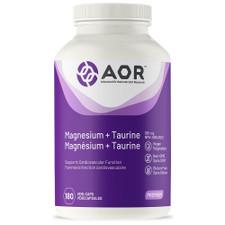 AOR Magnesium + Taurine 365 mg 180 Vegi Caps | UPC: 624917043242 | SKU: AOR-1052-0001