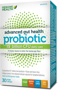 Genuine Health Advanced Gut Health Probiotic 15 Billion CFU 30 Vegan Capsules | 624777008719