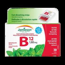 Jamieson Fast Dissolving Strips Vitamin B12 1000mcg Refreshing Mint Flavour 30 Strips   064642027771