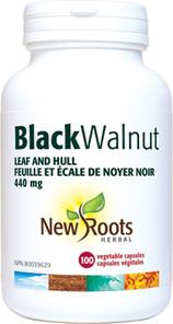 New Roots Herbal Black Walnut Leaf and Hull 440mg 100 Veg Capsules | 628747108416