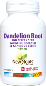New Roots Herbal Dandelion Root and Celery Seed 430mg 100 Veg Capsules|628747108355