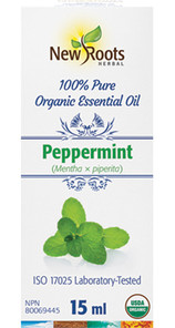 New Roots Herbal 100% Peppermint Pure Organic Essential Oil 15mL | 628747221375