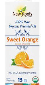 New Roots Herbal 100% Sweet Orange Pure Organic Essential Oil 15mL | 628747221467