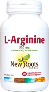 New Roots Herbal L-Arginine 500mg 100 Veg Capsules | 628747110181