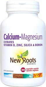 New Roots Herbal Calcium Magnesium Citrate withVitamin D, Zinc, Silica & Boron | 628747114684