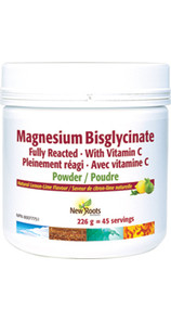 New Roots Herbal Magnesium Bisglycinate with Vitamin C, Powder, Natural Lemon Lime Flavour   628747023788